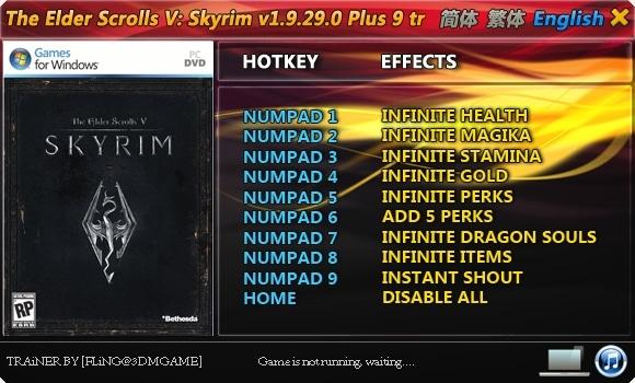 The Elder Scrolls 5 – Skyrim: Trainer (+9) [1.9.32.0] {FLiNG} Free Download