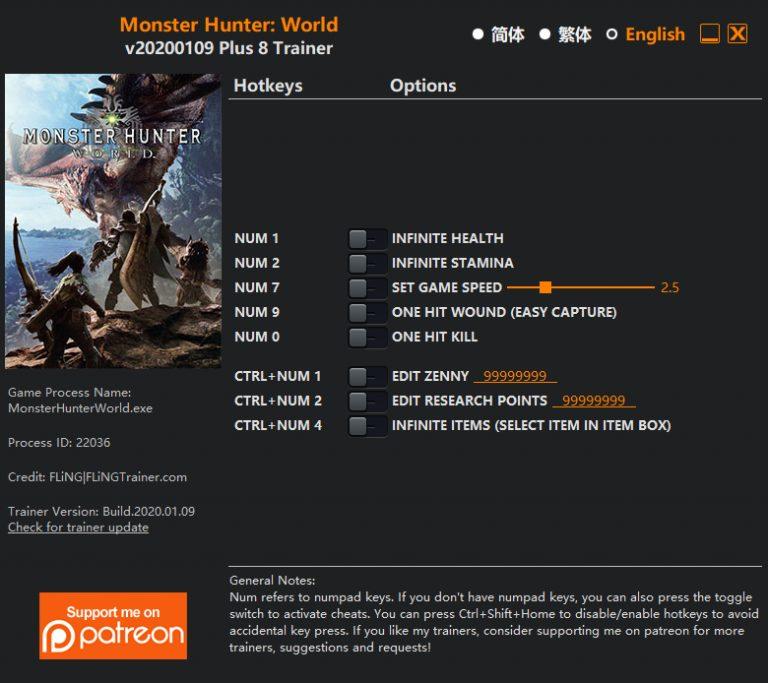 Monster Hunter: World: Trainer (+8) [UPD: 09.01.2020] {FLiNG}