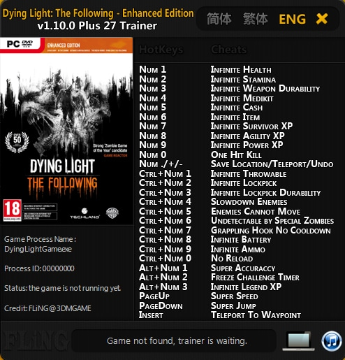 Dying Light: The Following - Enhanced Edition: Trainer (+27) [1.10.0] {FLiNG}