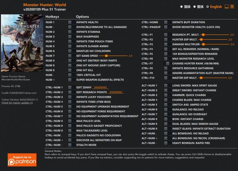 Monster Hunter: World: Trainer (+51) [UPD: 09.01.2020] {FLiNG}